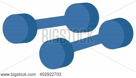 Dumbbells Icon. Cartoon Vector Illustration Isolated On White Background. Muscle Building Equipment,