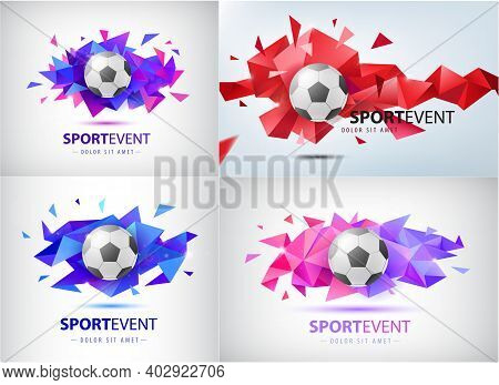 Vector Set Of Logos For Football Teams And Tournaments, Championships Soccer. Isolated. Football Bal