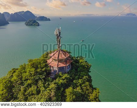 Aerial View Panorama Of Floating Fishing Village And Rock Island, Halong Bay, Vietnam, Southeast Asi