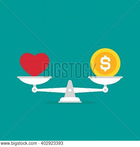 White Mechanical Scales With Dollar Coin And Red Heart In Pans. Love, Like, Sympathy Value, Solution