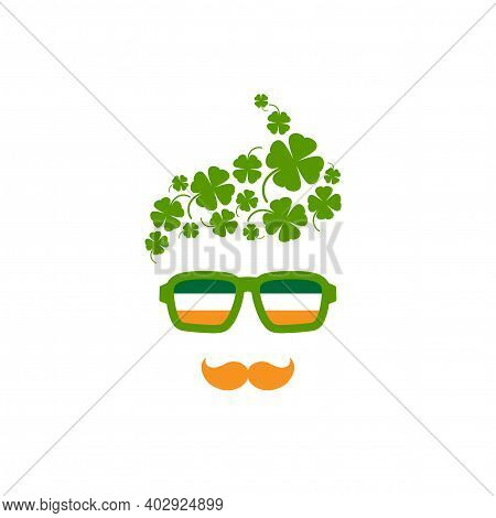 Silhouette Of Man's Head In Hipster Glasses And Irish Flag And Clover Field In Hair. Green Avatar Wi