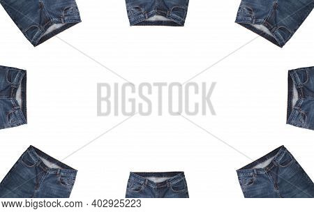 Front Pockets, Waist Areas, Zippers, And Buttons Of Eight Pairs Of Dark Blue Jeans Isolated On White