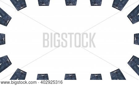 Front Pockets, Waist Areas, Zippers, And Buttons Of 16 Pairs Of Dark Blue Jeans Isolated On White Ba