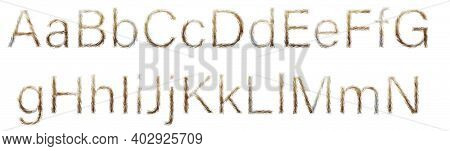 Letters Made Of Red Cat Hair Isolated On White. Part Of The Light Brown Font Of The English Alphabet