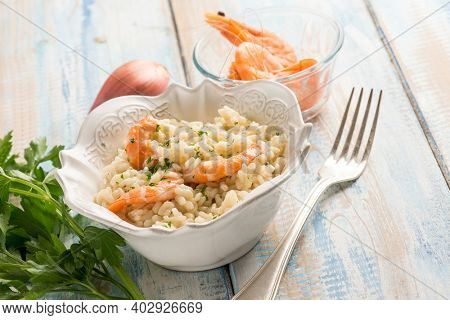 shrimp risotto with champagne wine