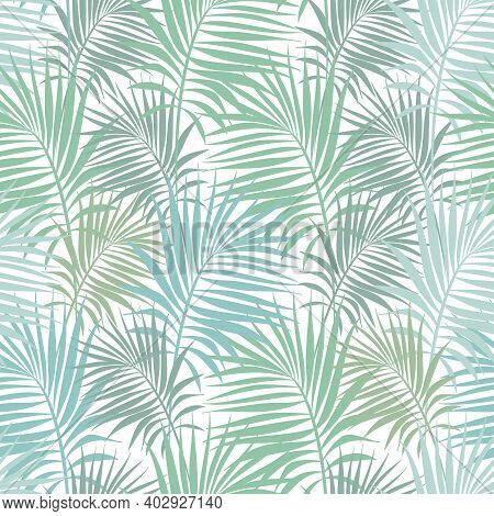 Seamless Pattern With Palm Branches Of Green And Aquamarine Colors. Summer Vector Illustration.
