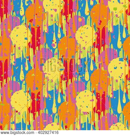 Holi Festival Inspired Paint Drip Seamless Vector Pattern Background. Irregular Tropical Color Dripp