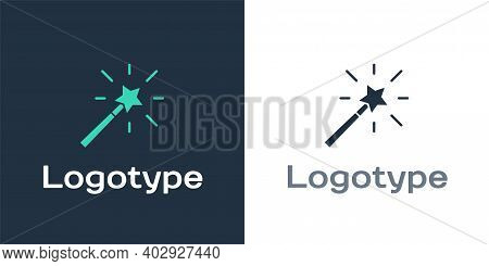 Logotype Magic Wand Icon Isolated On White Background. Star Shape Magic Accessory. Magical Power. Lo