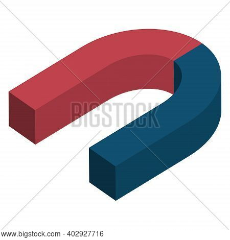 Magnet 3d Isometry Blue Red Horseshoe, Concept Of Attraction And Repulsion, Vector Positive And Nega