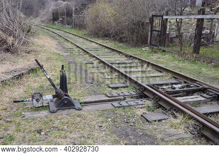 Old Railway Track In The Forest, Ukraine.