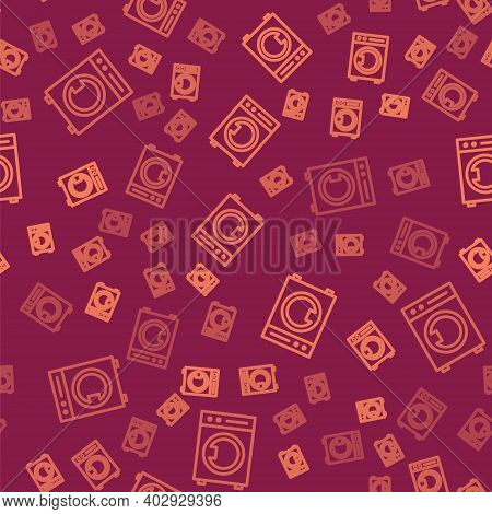 Brown Line Washer Icon Isolated Seamless Pattern On Red Background. Washing Machine Icon. Clothes Wa