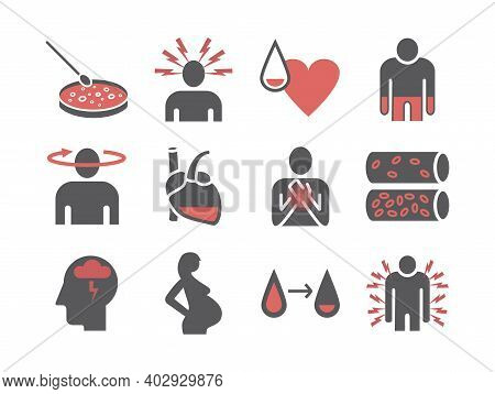 Symptoms Of Anemia. Iron Deficiency. Diagnosis And Treatment Of Anemia. Icons Set. Vector Signs For