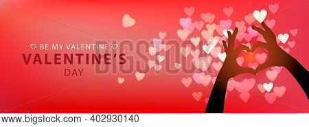 Web Banner For Valentines Day. Male And Female Hands Forming A Heart Shape, Vector Illustration