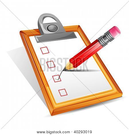 illustration of pencil making tick in check box in clipboard
