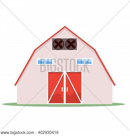 Barn House On A White Background With Red Roof And Doors. Solid And Flat Color Design Vector Illustr