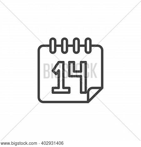 February 14 Calendar Page Line Icon. Linear Style Sign For Mobile Concept And Web Design. Valentines