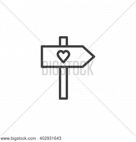 Valentines Day Signpost Line Icon. Linear Style Sign For Mobile Concept And Web Design. Signpost Wit