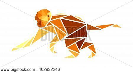 Vector Monkey In Low Poly Style. Digital Art