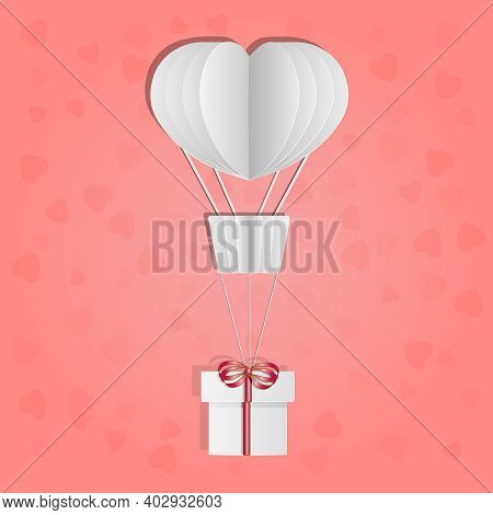 Hot Air Balloon With Gift Box Isolated On Pink Background. Paper Cut Design. Love And Valentine Day.