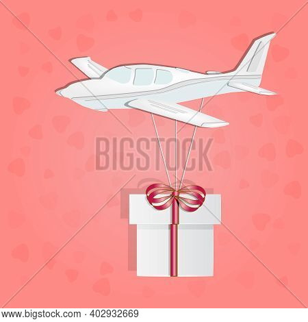 Small Airplane With Gift Box Isolated On Pink Background. Paper Cut Design. Love And Valentine Day.