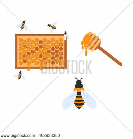 Honeycomb Set Beehive And Spoon. Flat Vector