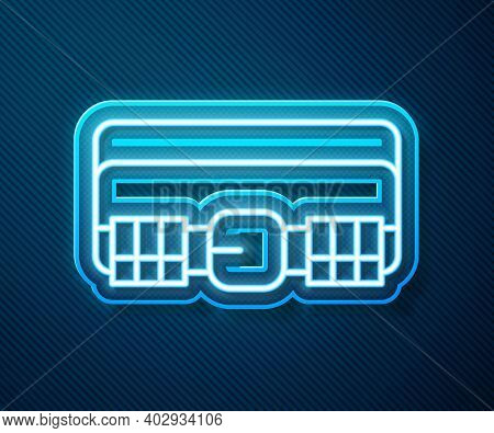 Glowing Neon Line Hunting Cartridge Belt With Cartridges Icon Isolated On Blue Background. Bandolier