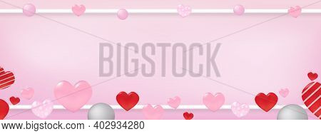 Valentine's Day Concept Many Heart On With Copy Space Pink Greeting Card Banner.