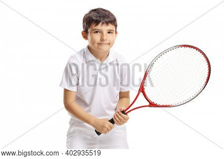 Young boy tennins player posing with a racquet isolated on white background