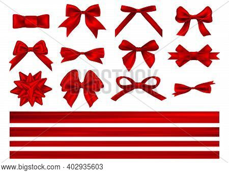 Big Set Of Red Gift Bows With Ribbons. Decorative Red Bow With Horizontal Red Ribbon Isolated On Whi