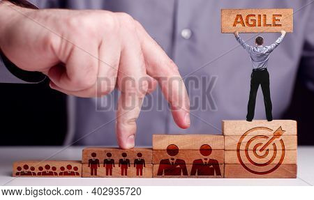 Business, Technology, Internet And Network Concept. Young Businessman Shows The Word:agile