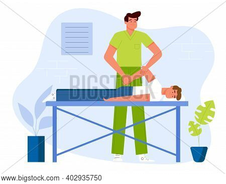 A Physiotherapist Doing A Therapeutic Massage To A Patient Lying On A Table In A Clinic. Flat Design