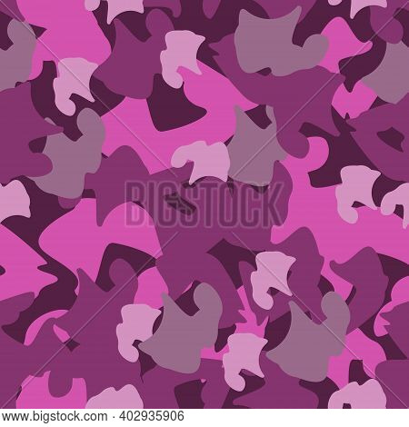 Abstract Camouflage In Pink And Burgundy Colors. Protective Repeating Pattern. Drawing For Clothing,