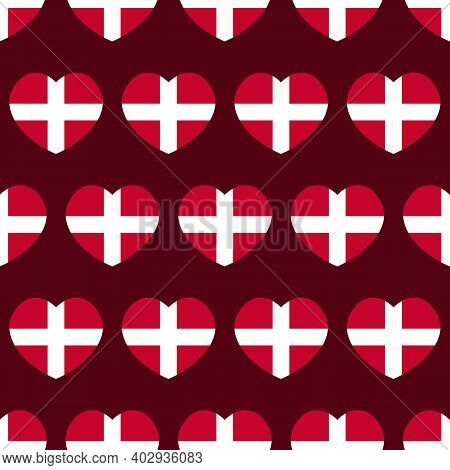 Vector Seamless Pattern Background With Heart Shapes Flags Of Denmark For Flag Day And Other Danish