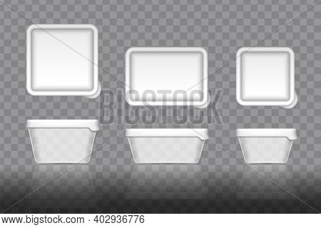 Mockup Of Plastic Yogurt Container With Lid Isolated On White Background. Set Of Clear Plastic Conta