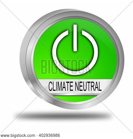 Climate Neutral Button Green - 3d Illustration