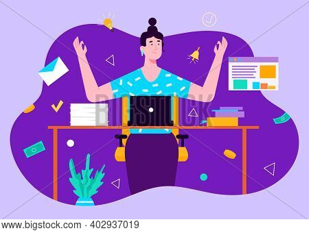 Brunette Woman Manager Working Using Laptop And Pondering About New Ides. Concept Of Remote Work Fro