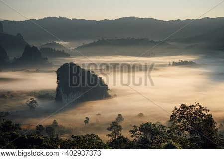 The Scenery Of Phu Langka In The Morning Sunrise At Phayao Province, Thailand.