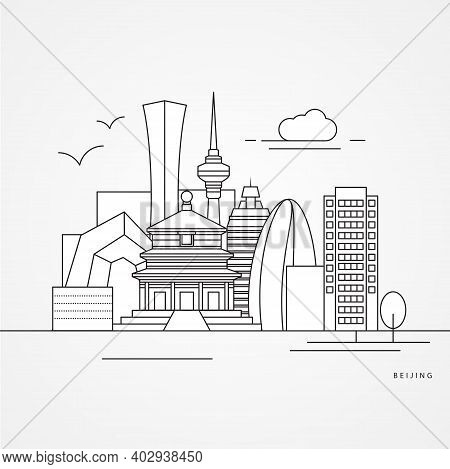 Beijing China Detailed Silhouette. Trendy Vector Illustration, Flat Style. Stylish Colorful Landmark