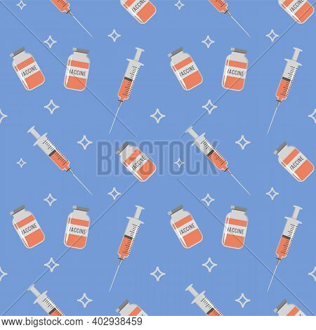 Seamless Repeat Pattern For Coronavirus Jab. Vaccine Bottle And Syringe With Orange Color Injection