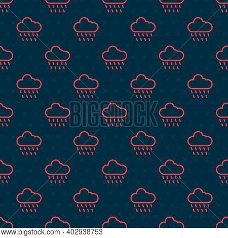 Red Line Cloud With Rain Icon Isolated Seamless Pattern On Black Background. Rain Cloud Precipitatio