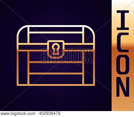 Gold Line Antique Treasure Chest Icon Isolated On Black Background. Vintage Wooden Chest With Golden