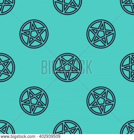 Black Line Pentagram In A Circle Icon Isolated Seamless Pattern On Green Background. Magic Occult St