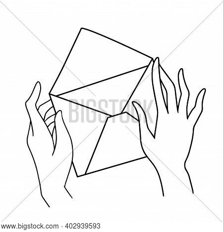Hand Holding Envelope. New Email, Mail Delivery, Receive Message Concepts. Black And White Line Flat