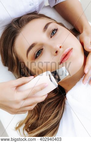 Ultrasonic Facial Cleansing Procedure By A Beautician. Skin Cleansing. Problem Skin Treatment.