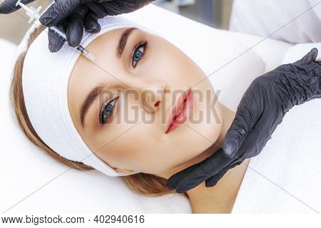 Ozone Therapy By A Beautician. Saturation Of The Facial Skin With Oxygen. Acne Treatment.
