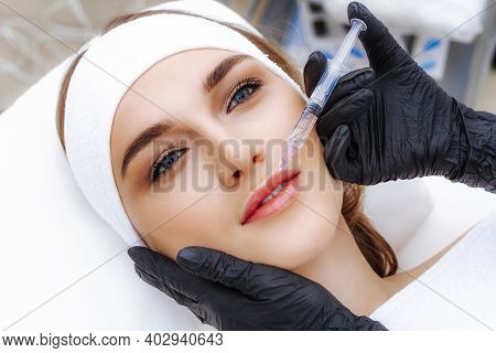 Photo Of The Mesotherapy Procedure. Facial Skin Rejuvenation By Injection. Beauty Shot.