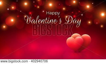 Red Bokeh Background For Valentines Day Greeting Card With Pink Hearts And Gold Lights. Happy Valent
