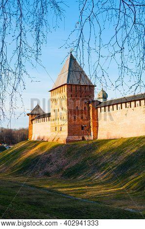 Veliky Novgorod, Russia. Spring View Of Veliky Novgorod, Russia. Tower Of Veliky Novgorod Kremlin Fo