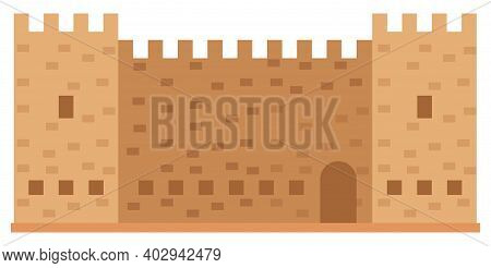 Medieval Fortress With Towers And Walls Vector Illustration. Old Town In Greece And Castle. Historic