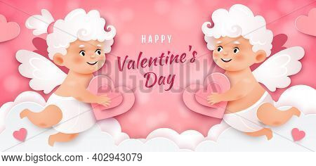 Valentine's Card With Cupids.two Cupids Are Holding Hearts On The Background Of White Clouds.